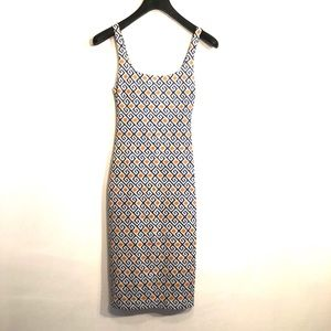 [Zara] Blue,Gold & White Pattern Midi Dress- Small